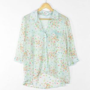 Candie's Butterfly Print Chiffon & Lace Blouse XL